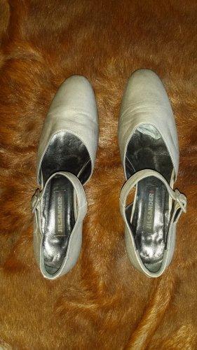 Jil Sander Ballerines à lacets argenté cuir