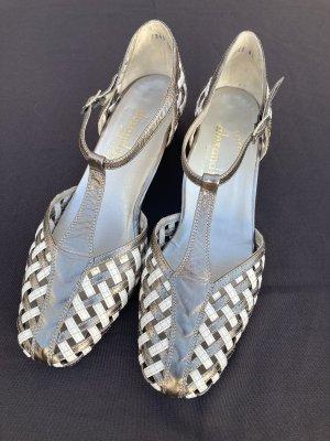 Alexandria Escarpins à lanière bronze-blanc cuir