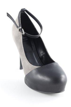 Riemchenpumps schwarz-grau Street-Fashion-Look
