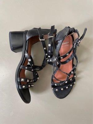 Bata Sandalo con cinturino e tacco alto nero-argento Pelle