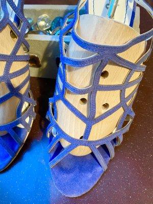 Riemchenschuhe blau von Zilian, Rauleder und Ledersohle