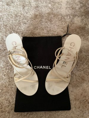 Chanel Strapped High-Heeled Sandals cream