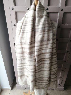 Écharpe en laine marron clair-beige clair