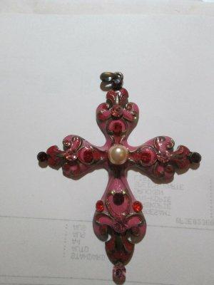 Riesig Kreuz Anhänger Emaile Rosa pink Steine Perle Statement