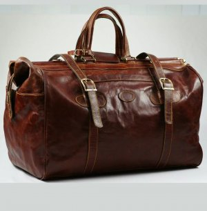 Borsa da weekend cognac Pelle