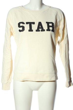 Rika Sweat Shirt cream-black printed lettering casual look
