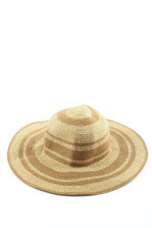 Rina Scimento Chapeau à larges bords crème-brun motif rayé