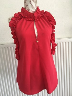 Rinascemento Bluse Top Shirt Made in Italy rot Koralle Rüschen S