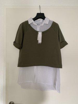 Rinascimento Blusa-camisa blanco-gris verdoso
