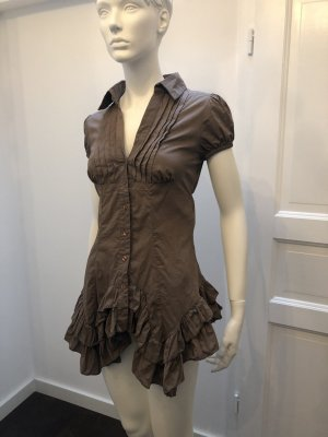 Rinascimento Ruffled Blouse brown cotton