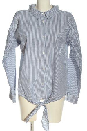 Rinascimento Camicia blusa blu-bianco motivo a righe stile casual