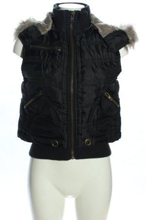 Rinascimento Kamizelka z kapturem czarny Pikowany wzór W stylu casual