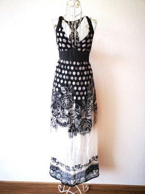 Rinascimento Vestido largo blanco-negro