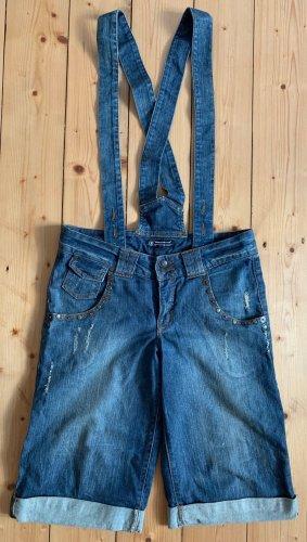 Rinascimento knielange Jeansshorts mit Hosenträgern, wie neu Größe M Used Look
