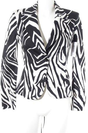 Rinascimento Blazer corto nero-bianco motivo animale ornamenti banda