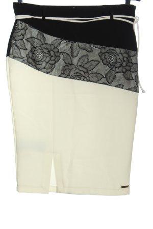 Rinascimento Spódnica midi w kolorze białej wełny-czarny Elegancki