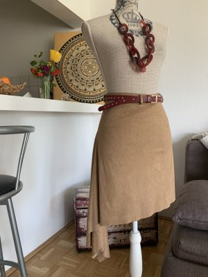 Rinascimento Leather Skirt sand brown-light brown leather