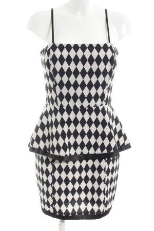 Rinascimento Vestido peplum negro-blanco estampado gráfico elegante