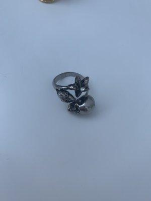 Alexander McQueen Anillo de cuentas gris oscuro-color plata