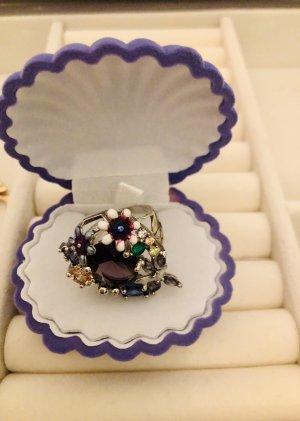 Bague en argent violet foncé-argenté