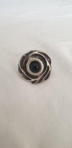 Bague incrustée de pierres noir-argenté