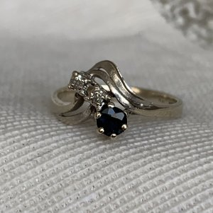 Gouden ring goud-donkerblauw