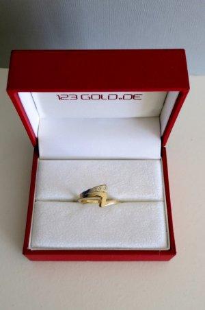 Ring 585 Gold + Weißgold + Brillianten