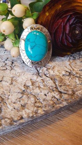 Anello d'argento turchese-azzurro