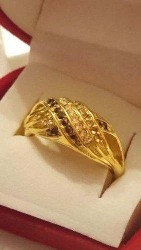 Ring 925 vergoldet mit Zirkonia Steinchen  und Amethyst Gr.20