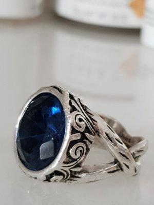 Statement ring zilver-blauw