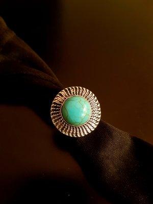 Vintage Statement Ring light blue