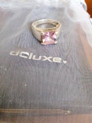ohne Marke Pierścionek z ozdobnym kamieniem jasny różowy