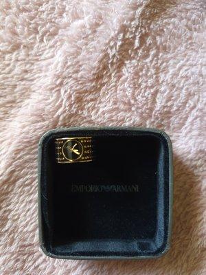 Armani Zdobiony pierścionek czarny-złoto