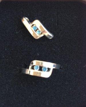 Ring+ Anhänger + Schmuckbeutel mit Steinen Modeschmuck NEU!