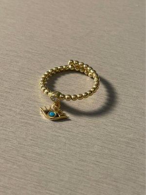 Ring Auge blau 925 Silber vergoldet neu #schmuck
