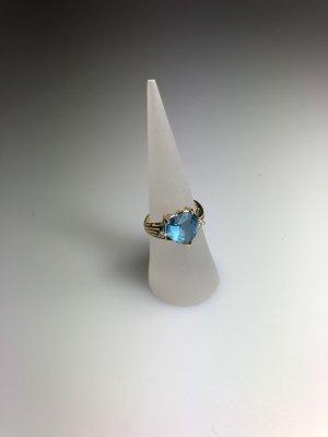 Non Signe Gouden ring goud-lichtblauw