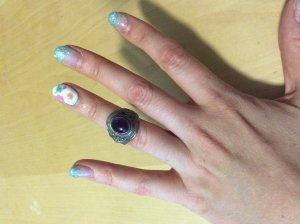 Zilveren ring zilver-donkerpaars Zilver