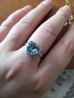 Zilveren ring zilver-lichtblauw