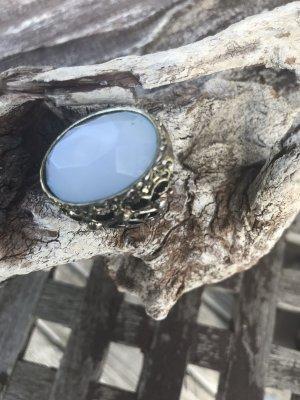 Original Vintage Zdobiony pierścionek srebrny-jasnoniebieski