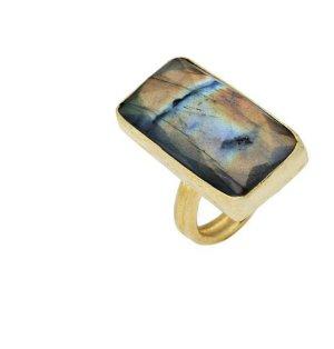 RING, aus Messing vergoldet, mit Labradorite Stein