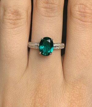 Ring aus Silber 925 Silberring Ring mit Zirkonia Fingerring Ring grün Schmuch Grüner Stein Größe 17,5