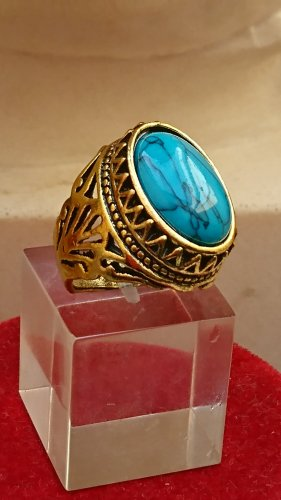 Ring blau türkis  Naturstein Handmade Stein filigran Gr.18 Goldfarbe