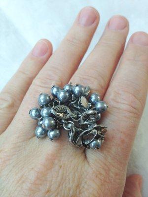 Ring Blumen Blüten Statement Silber Größe 57