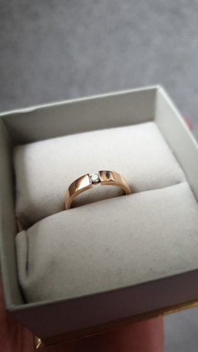Ring Christ rotgold Verlobung Diamantring