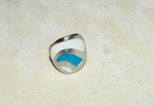 Ring Damen Silber blau weiß 16,9 mm