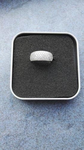 Tchibo / TCM Srebrny pierścionek srebrny-biały