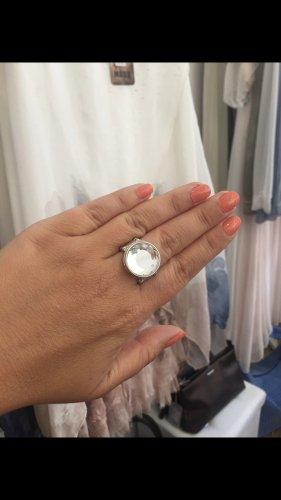 Ring elastisch mit auswechselbarem Stein silber