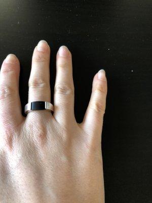 Esprit Srebrny pierścionek czarny-srebrny