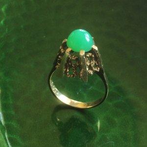 Ring Gold 585 mit Chrysopras, Modernist, Dänemark, Juwelierarbeit