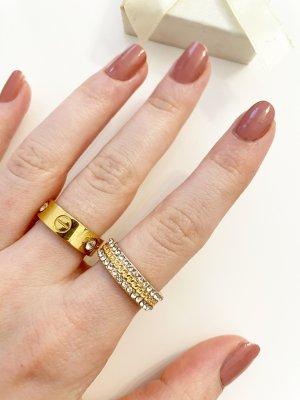 Instashop Złoty pierścionek złoto-srebrny